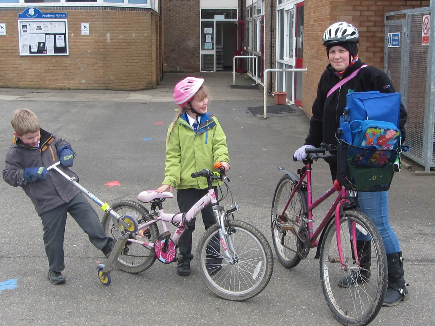 Children and parents cycled to school. Well done.